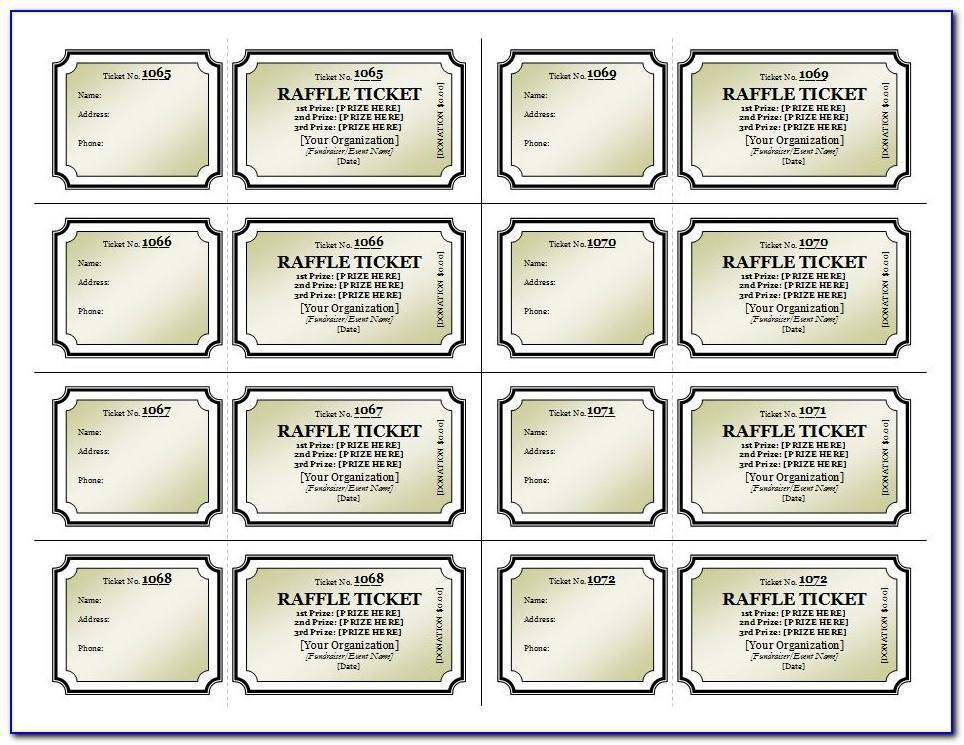 Free Printable Raffle Ticket Template Word
