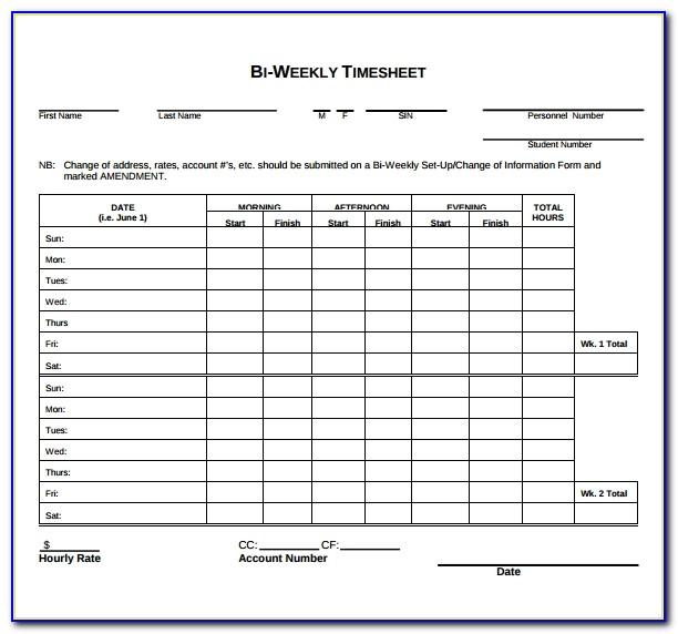 Free Printable Weekly Timesheet Template