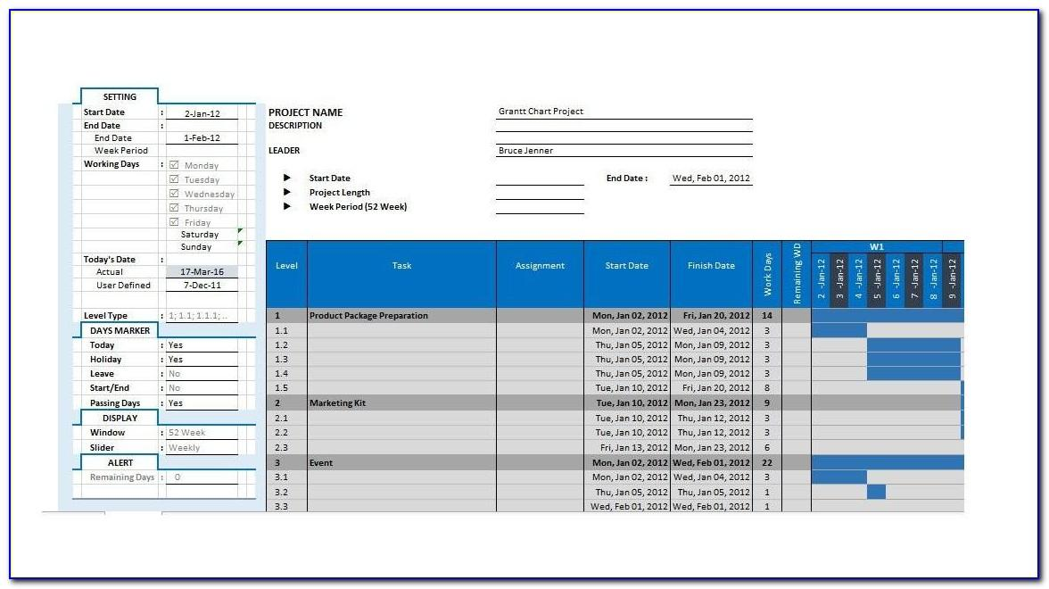 Free Project Plan Template Excel Gantt