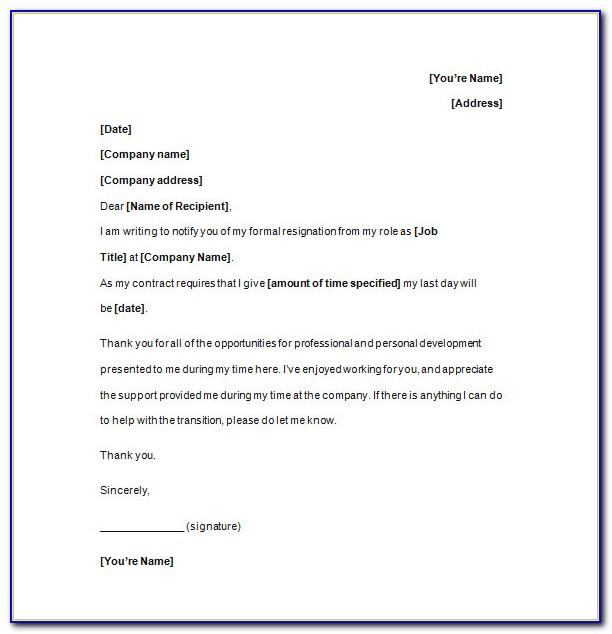 Free Resignation Letter Template Uk