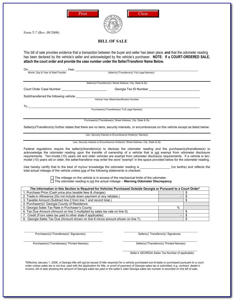Free Vehicle Bill Of Sale Template Ga