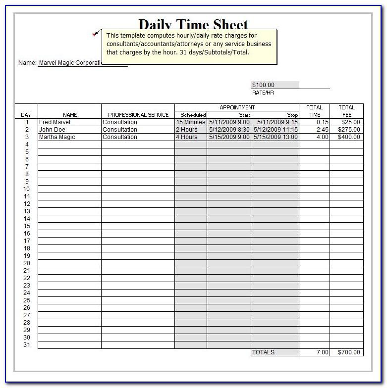 Free Weekly Timesheet Template Download
