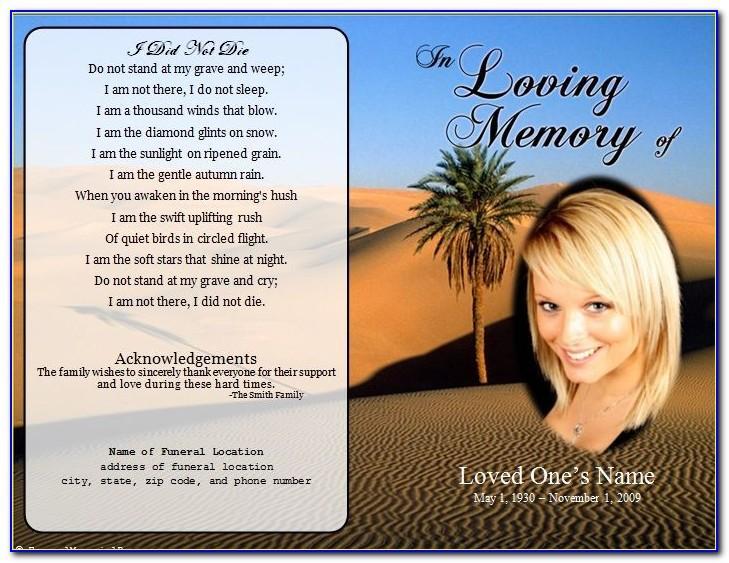 Funeral Memorial Cards Template Free