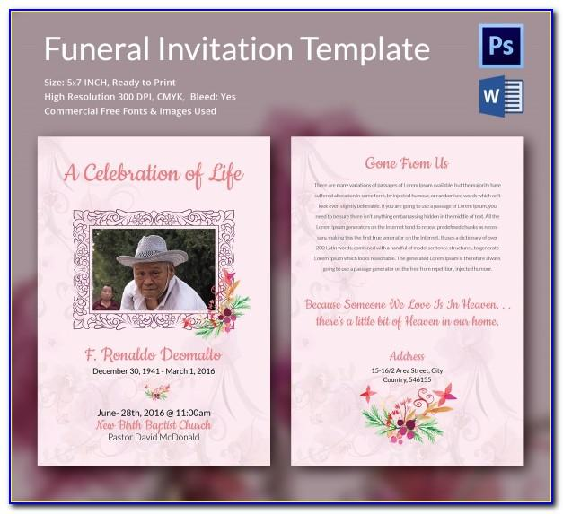 Funeral Service Invitation Template Free