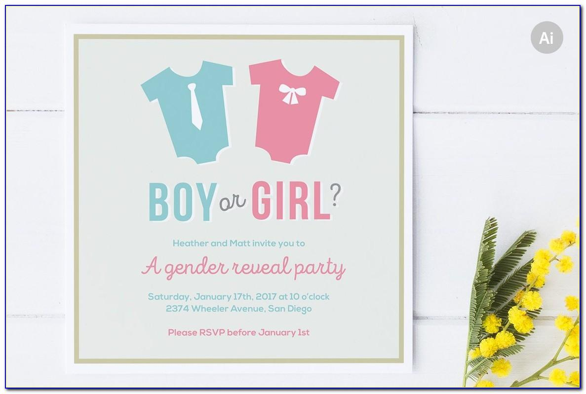 Gender Reveal Party Invitation Cards