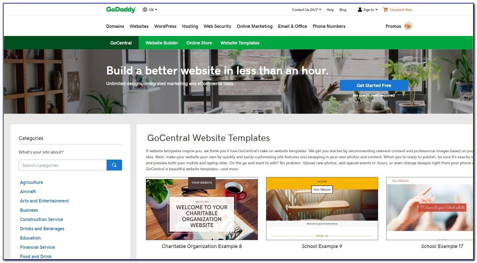 Godaddy Website Builder Template Examples