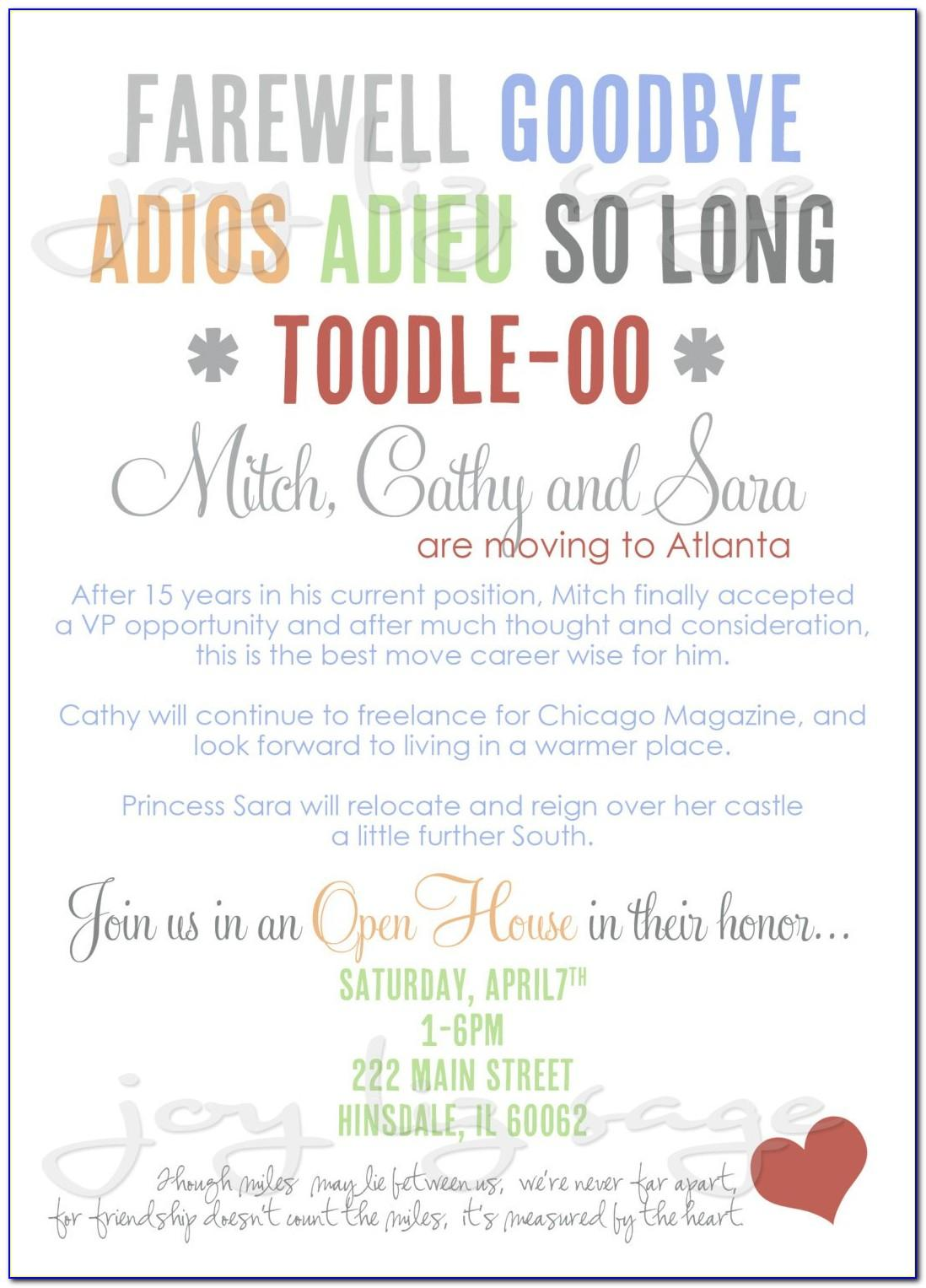 Going Away Party Email Invitation Template