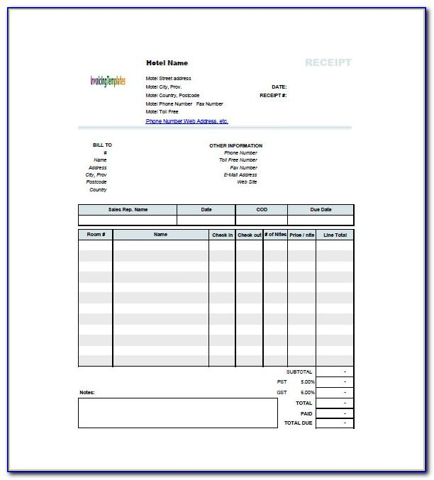 Hotel Invoice Template Free Download