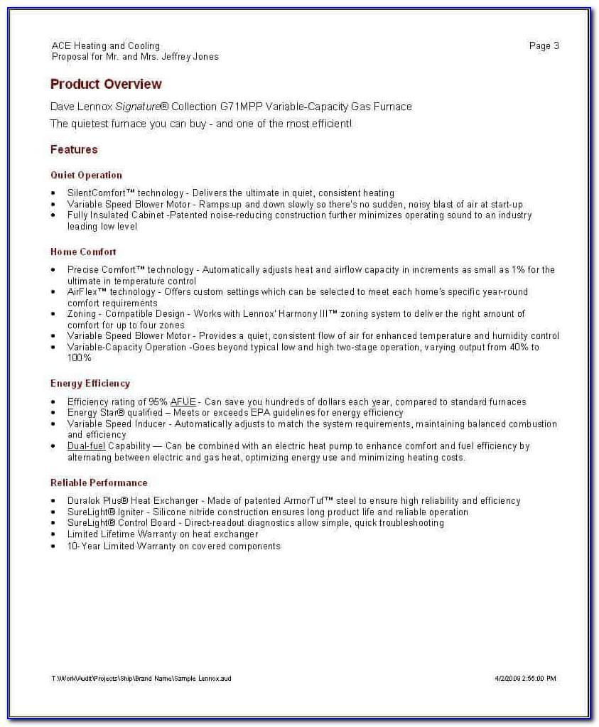 Hvac Proposal Sample