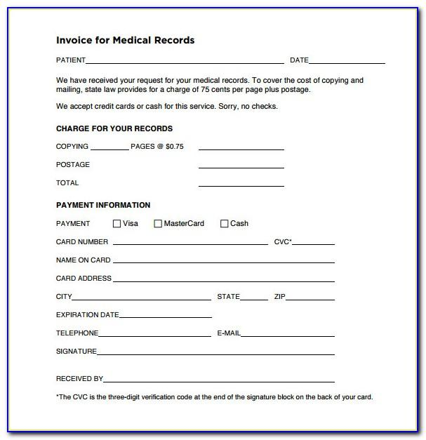 Invoice For Medical Records Template