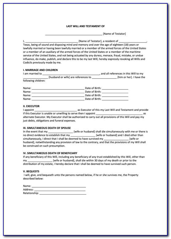 Last Will And Testament Template Texas Free