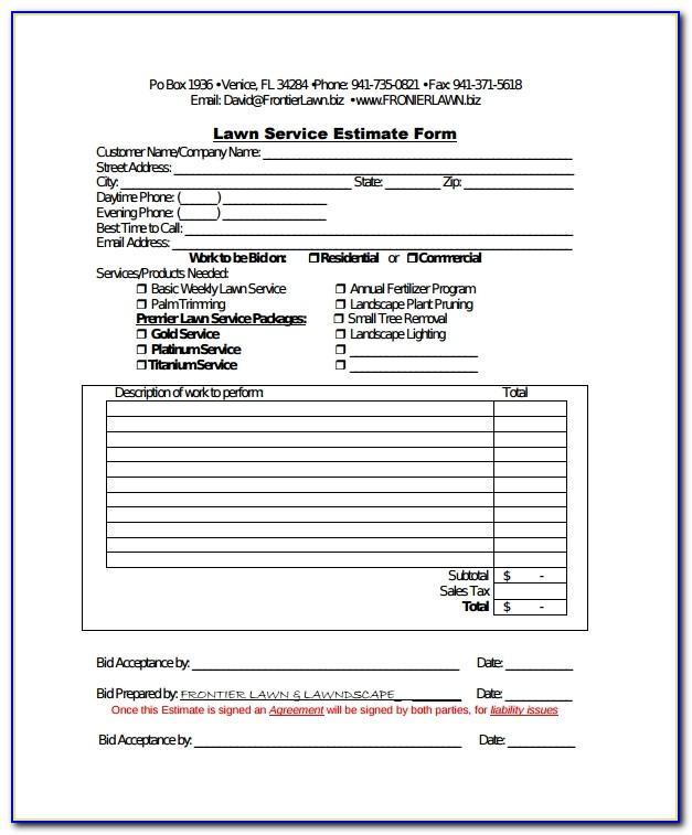 Lawn Care Bid Sheet Template Excel
