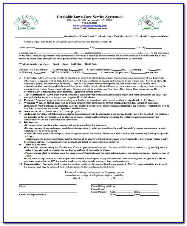Lawn Care Contract Examples
