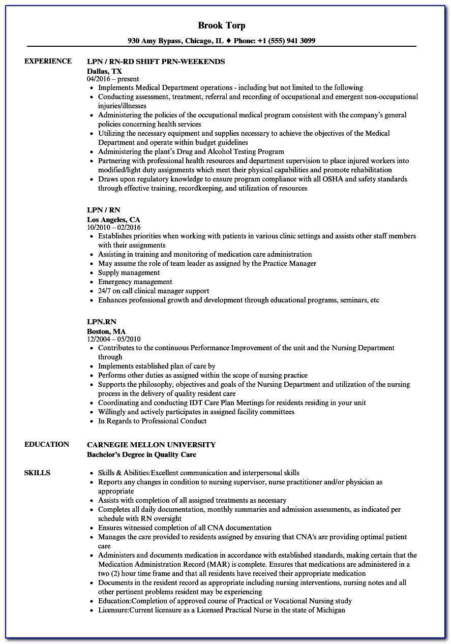 Licensed Practical Nurse Free Resume Template