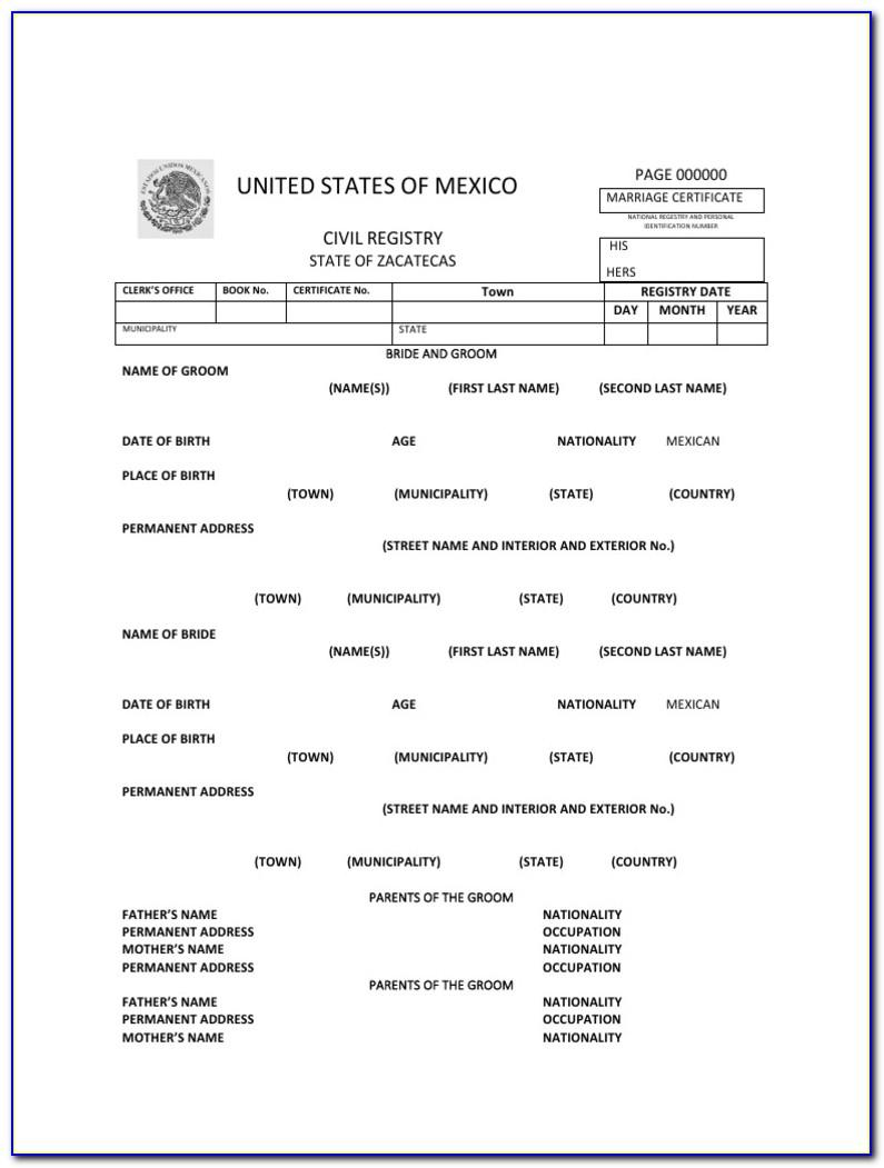 Marriage Certificate Translation Template English To Italian