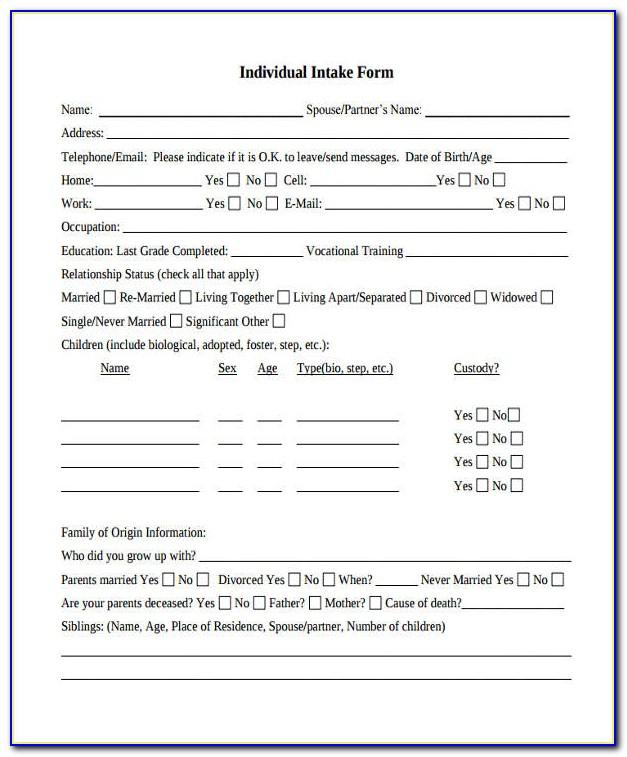 Massage Therapy Intake Forms Templates