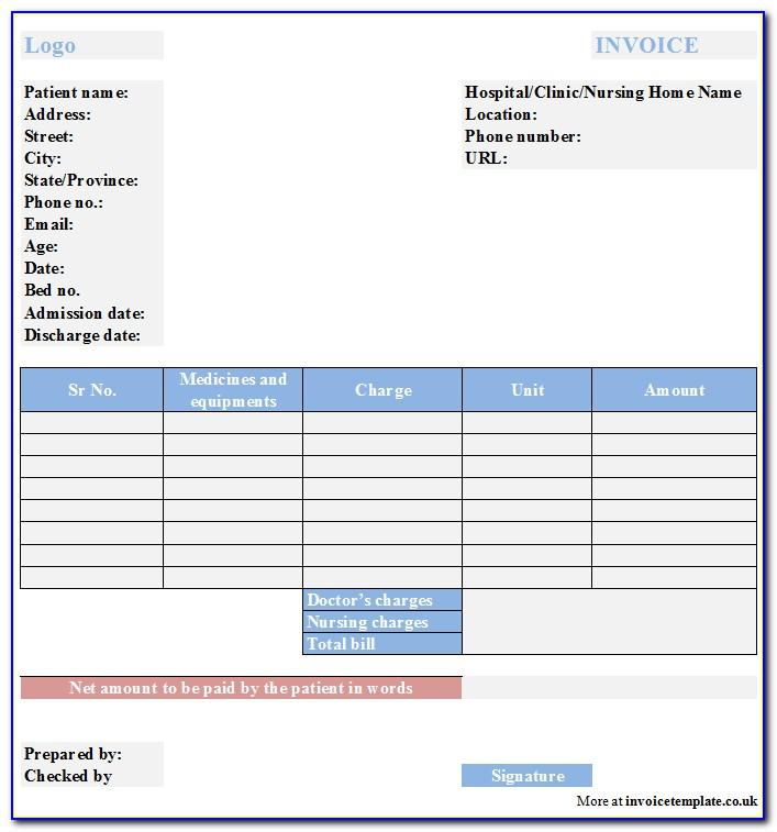 Medical Invoice Template Australia