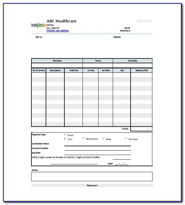 Medical Invoice Template Microsoft Word