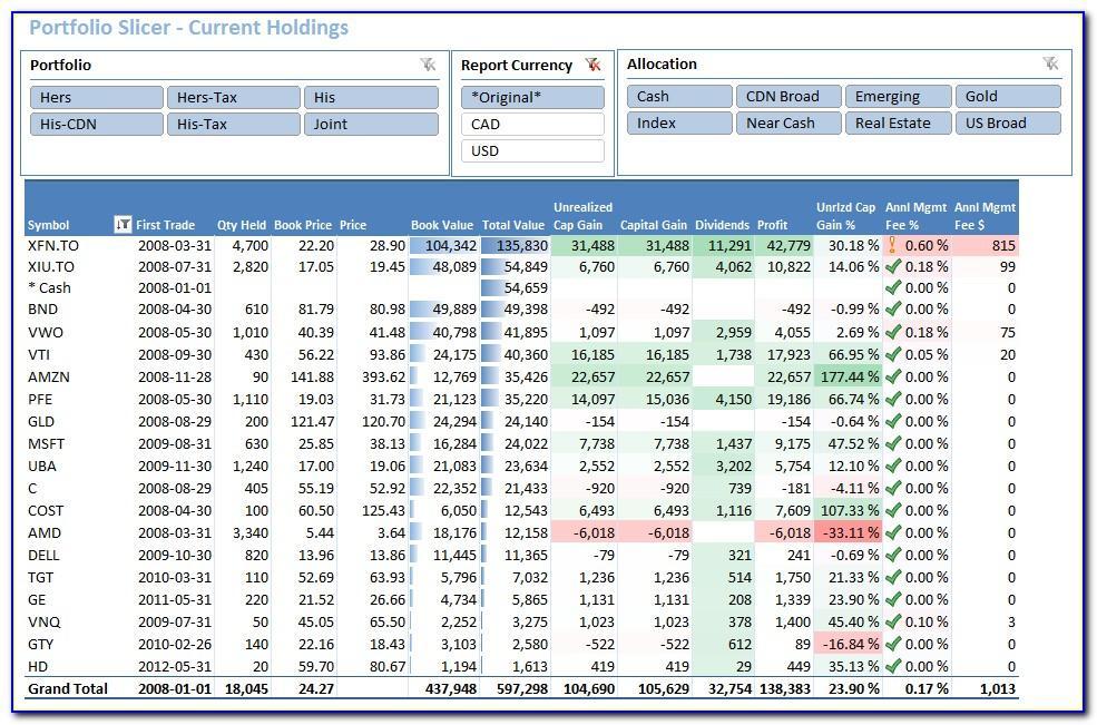 Microsoft Excel Stock Portfolio Template