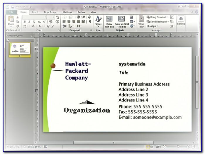 Microsoft Publisher Business Card Templates Free Download