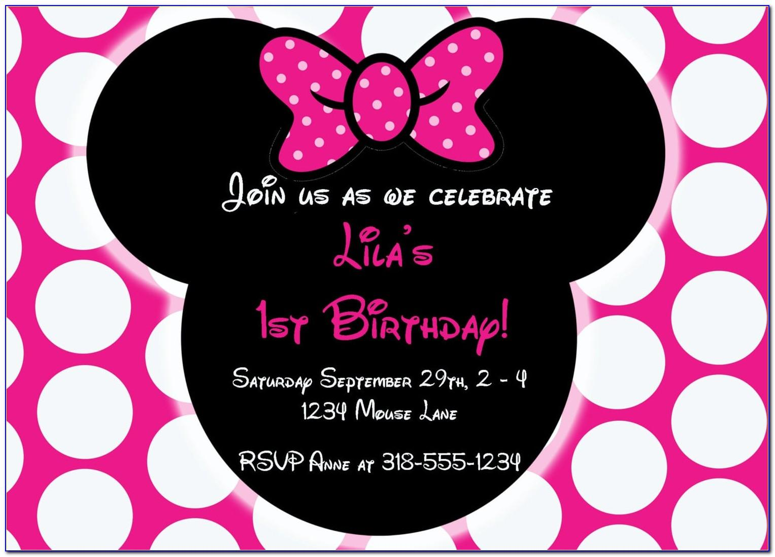 Minnie Mouse 1st Birthday Invitation Templates Free