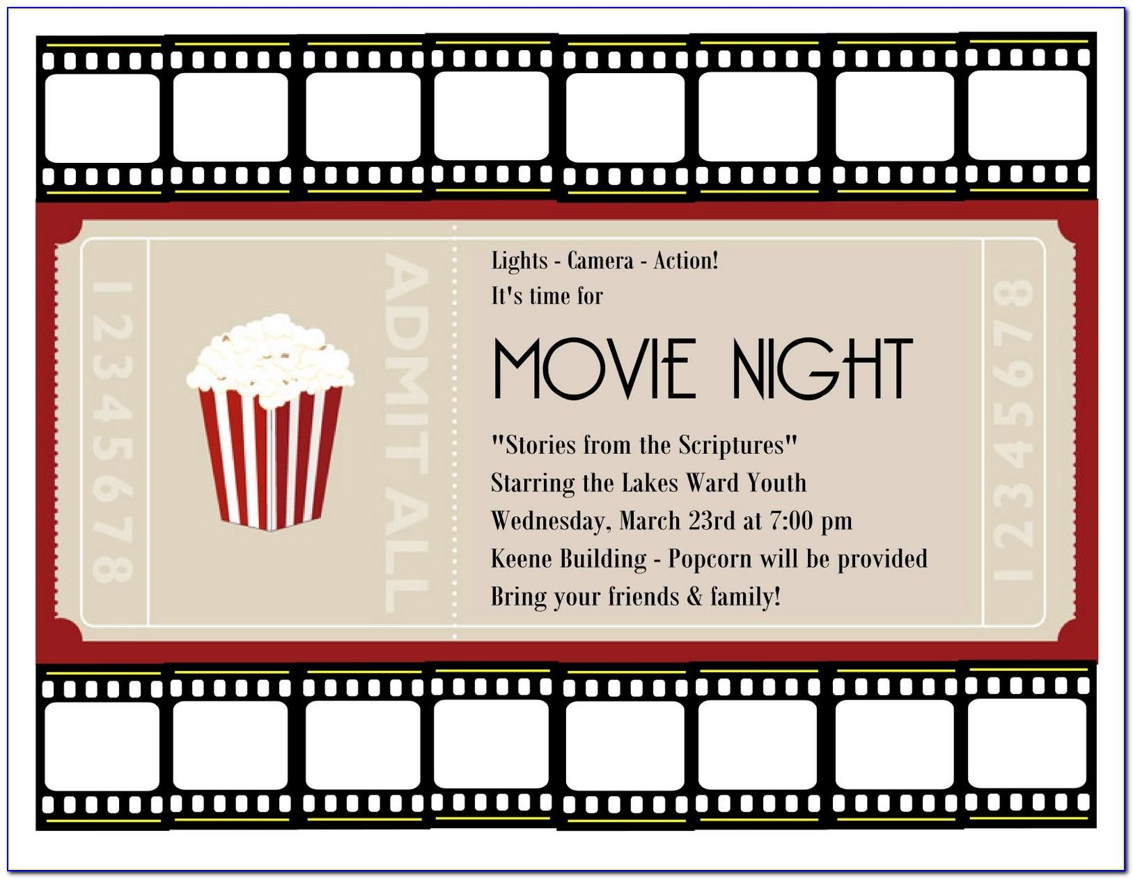 Movie Ticket Invitation Template Word