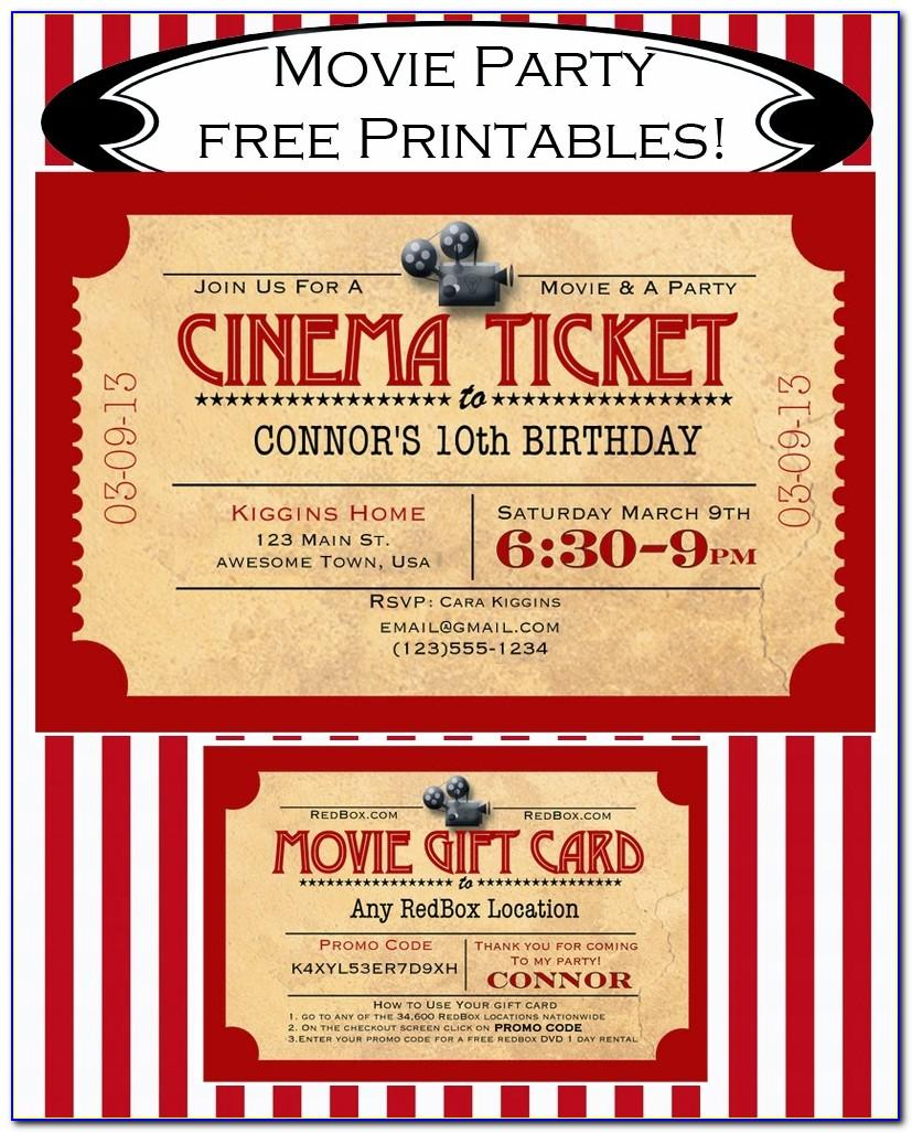 Movie Ticket Party Invitation Template Free