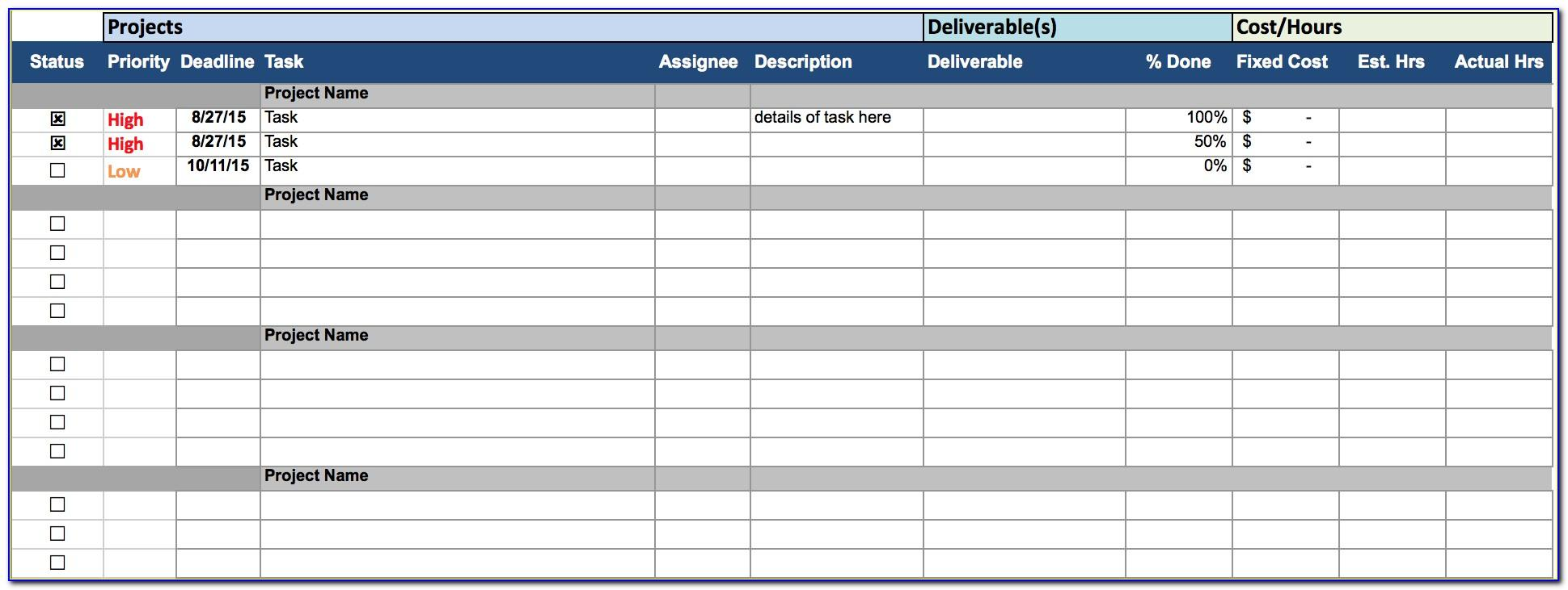 Multiple Project Tracking Template Xls