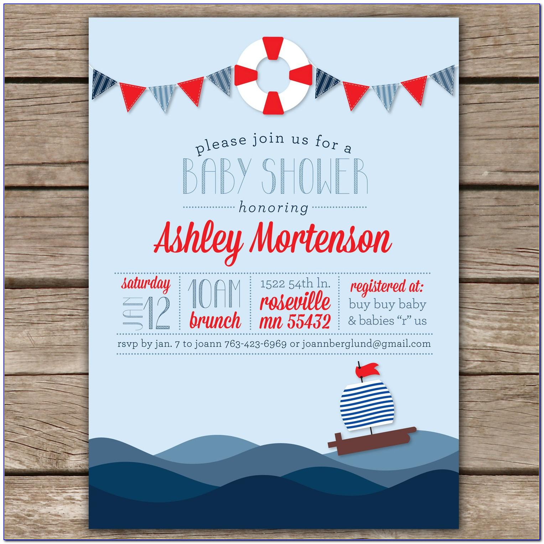 Nautical Themed Baby Shower Invitation Templates