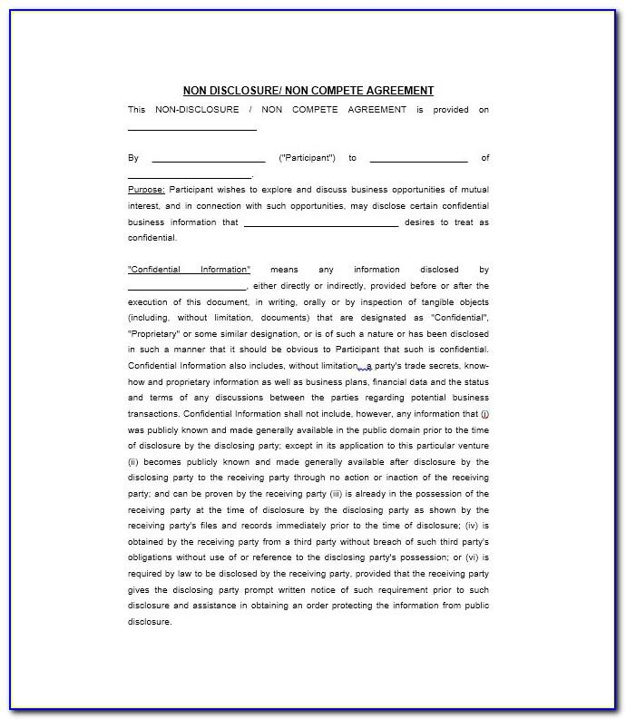 Non Disclosure Agreement Template Free Pdf