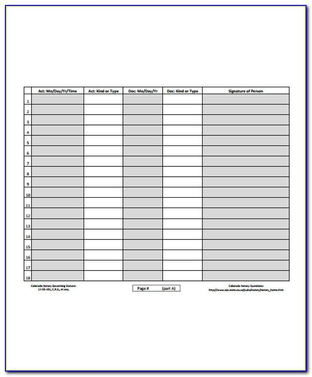 Notary Journal Template Florida