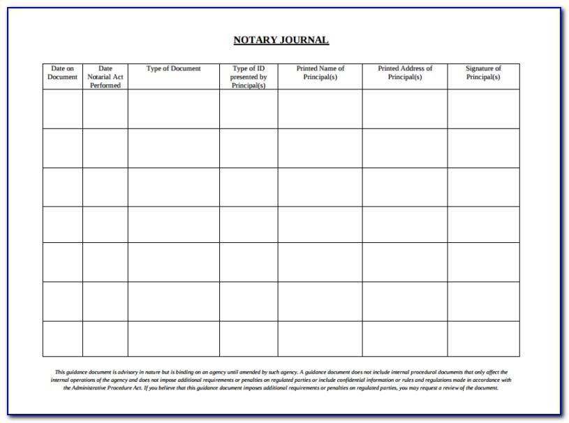 Notary Journal Template Pdf