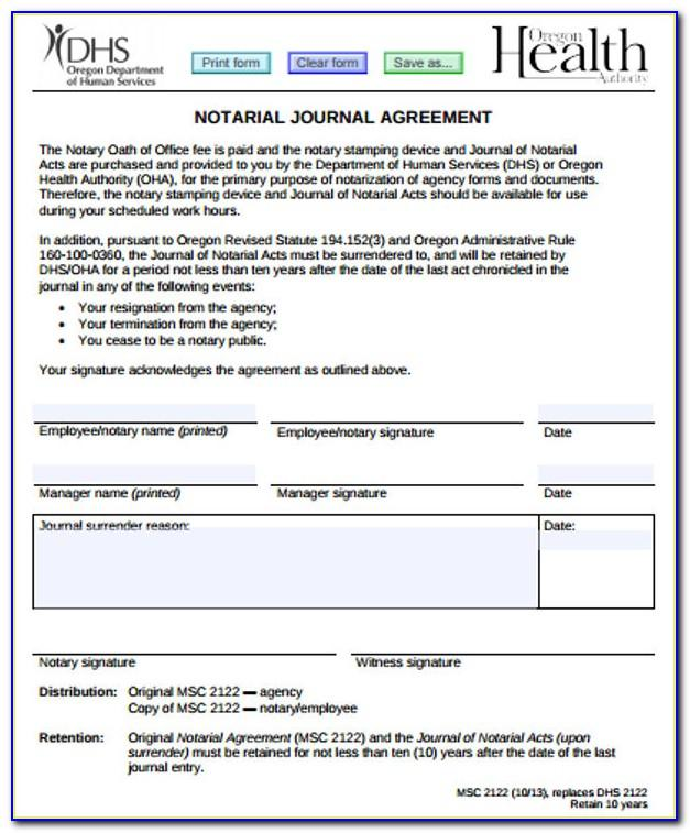 Notary Record Journal Template
