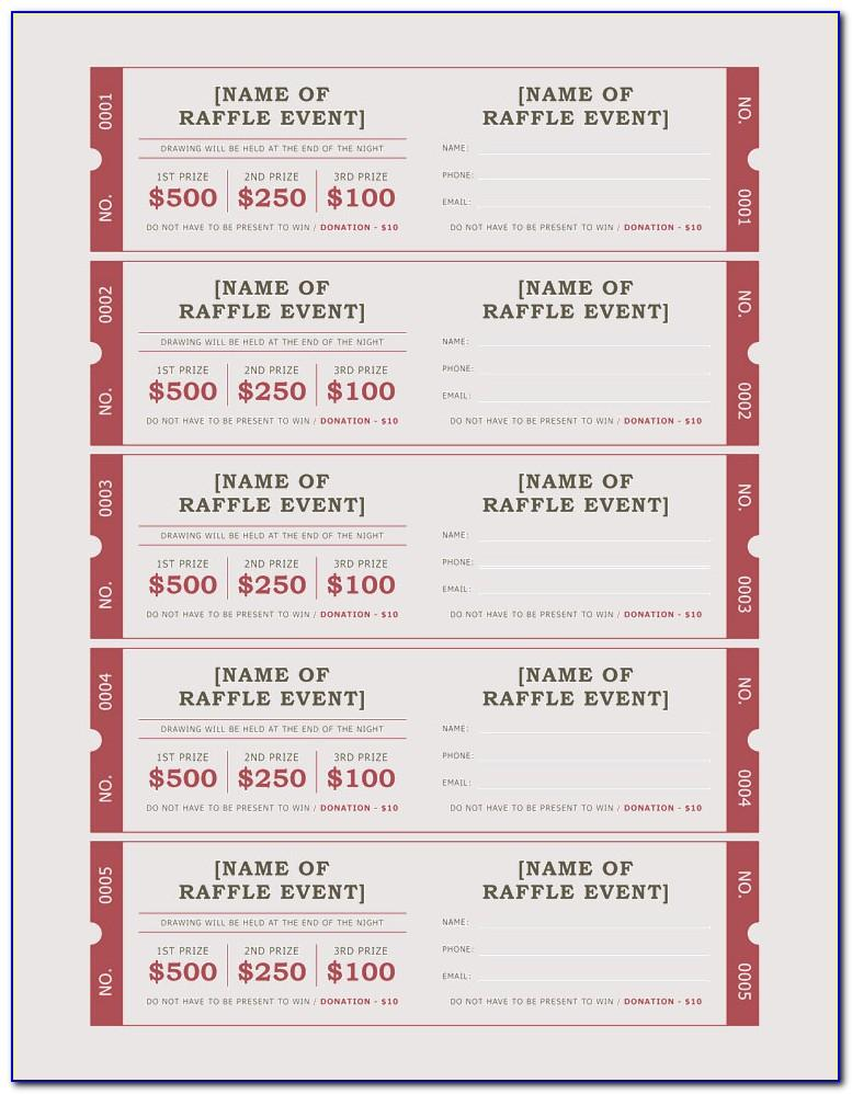 Numbered Raffle Ticket Template