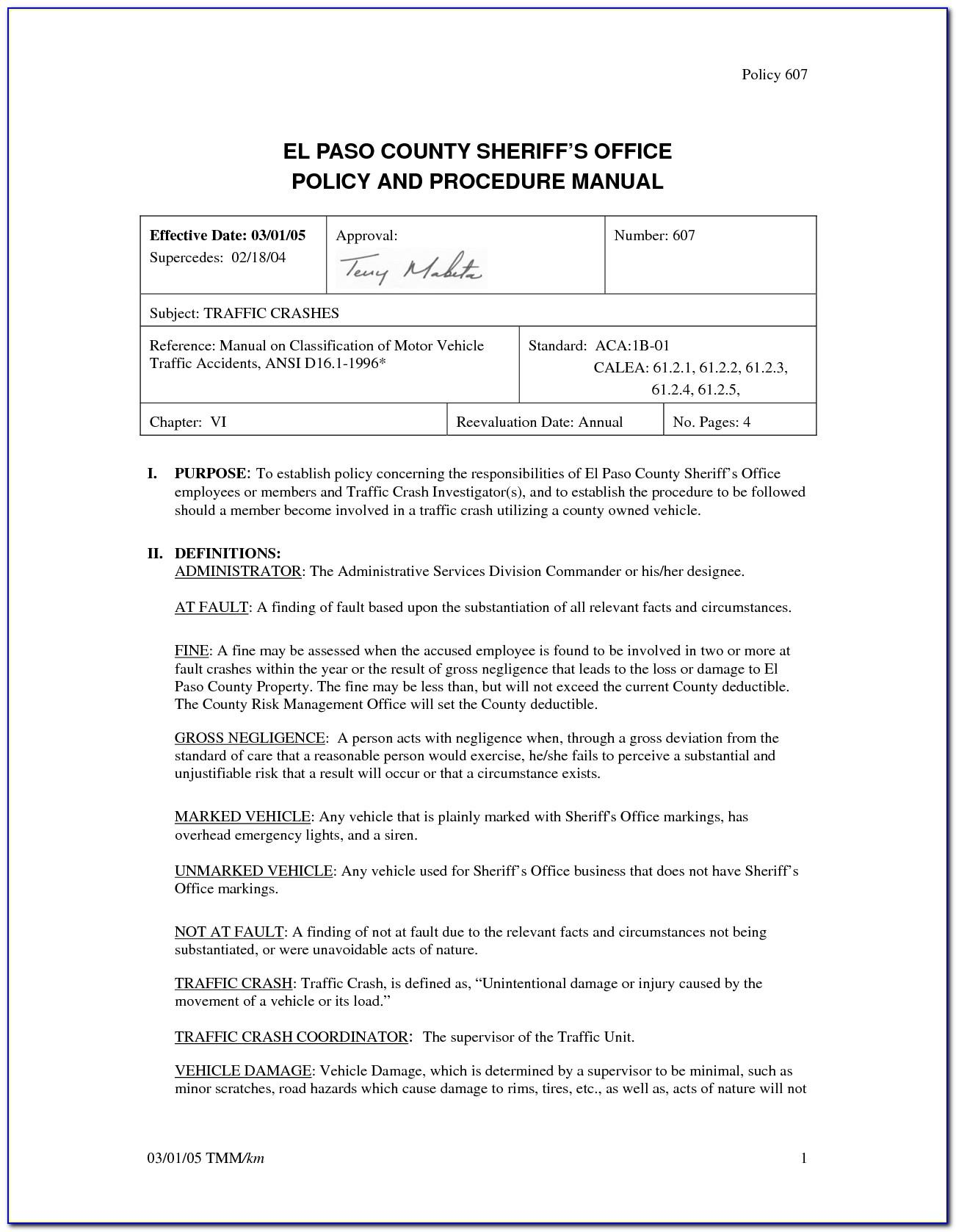 Office Procedures Manual Template