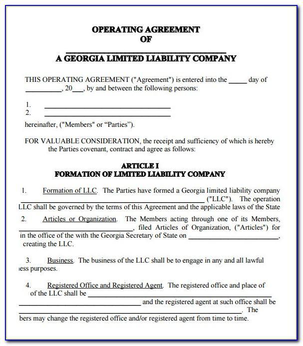 Operating Agreement Template Llc Texas