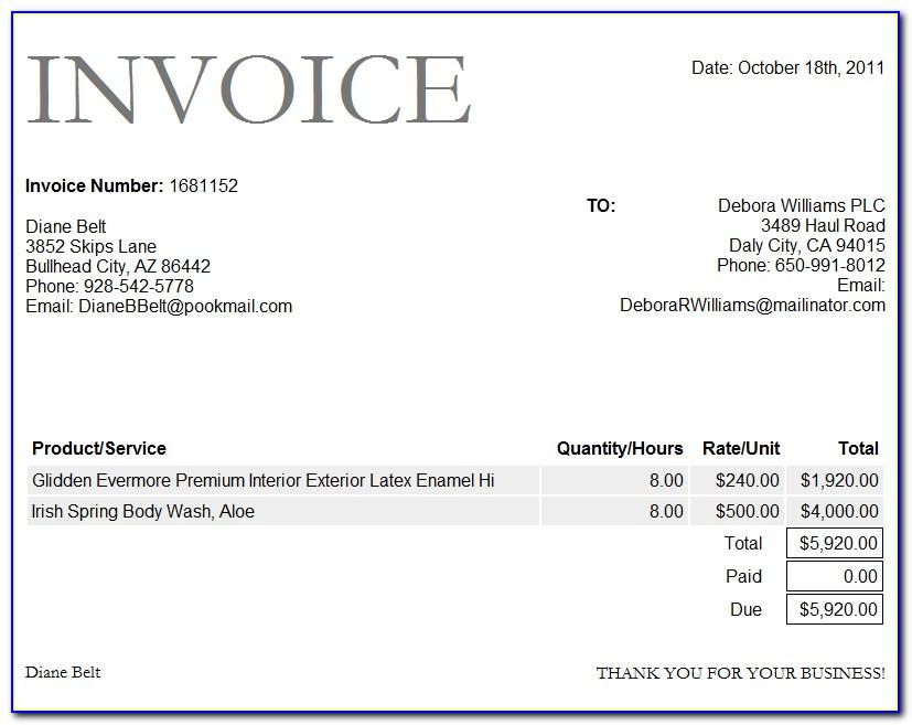 Paid Invoice Sample