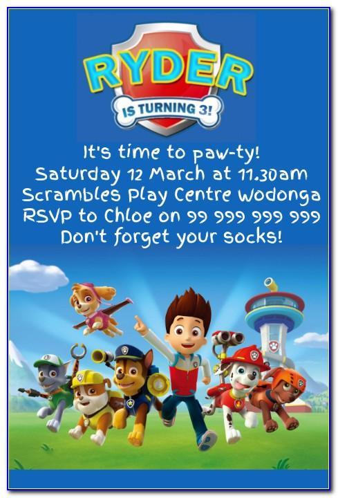 Paw Patrol Birthday Invitation Wording