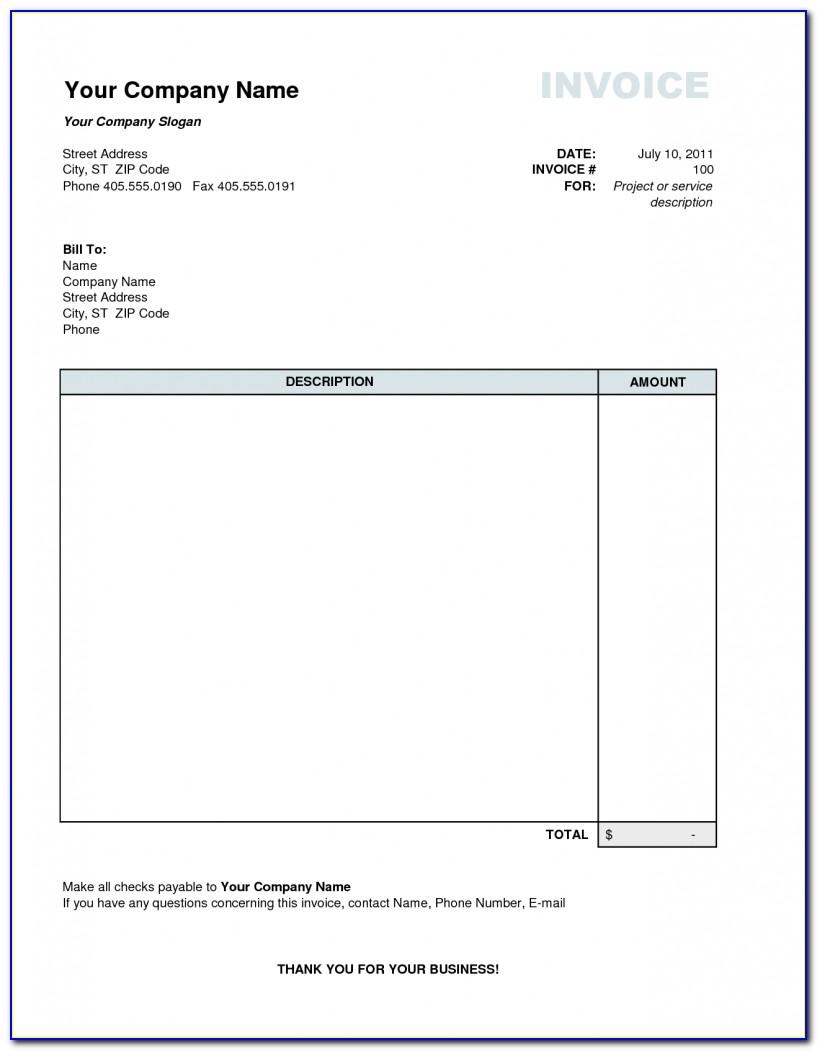 Personal Invoice Template Canada