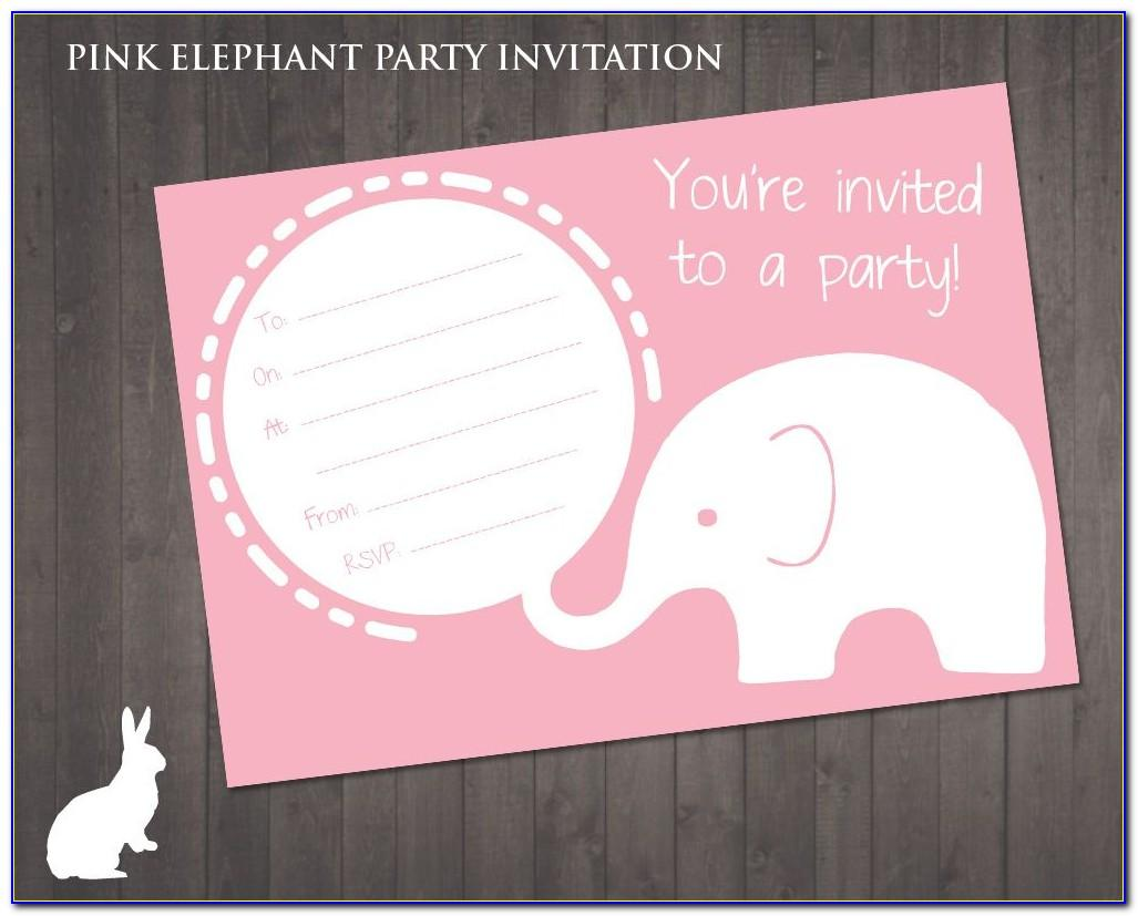 Pink Elephant Baby Shower Invitations Templates
