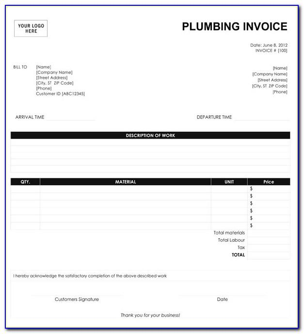 Plumber Invoice Template