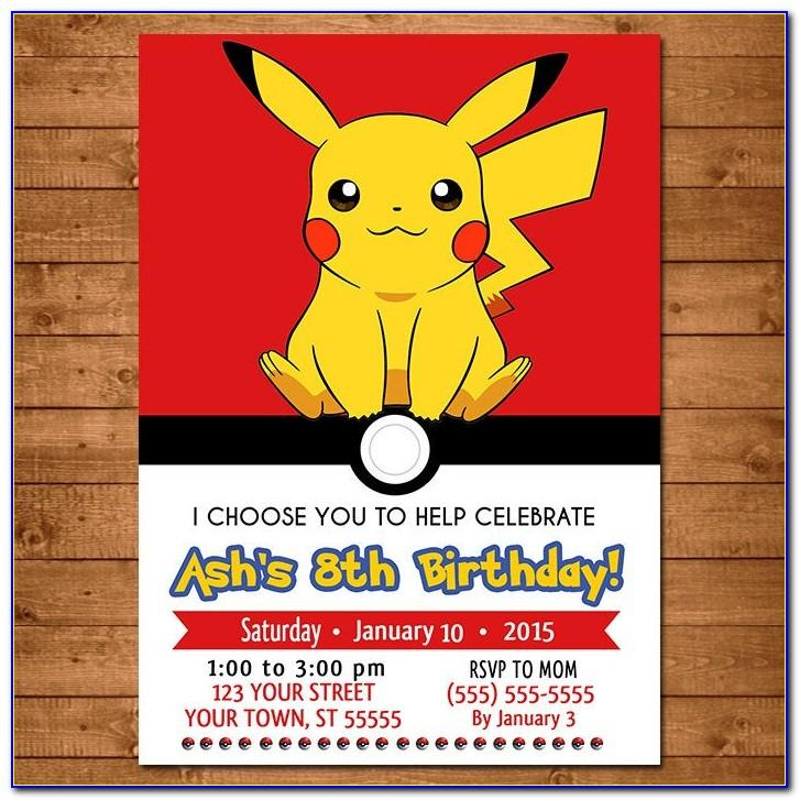 Pokemon Birthday Invitation Template