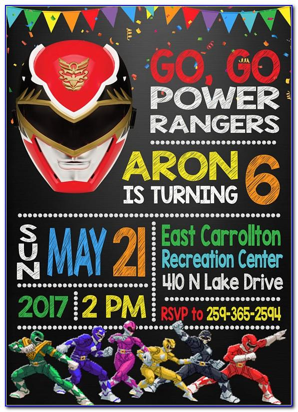 Power Ranger Dino Charge Invitations Template
