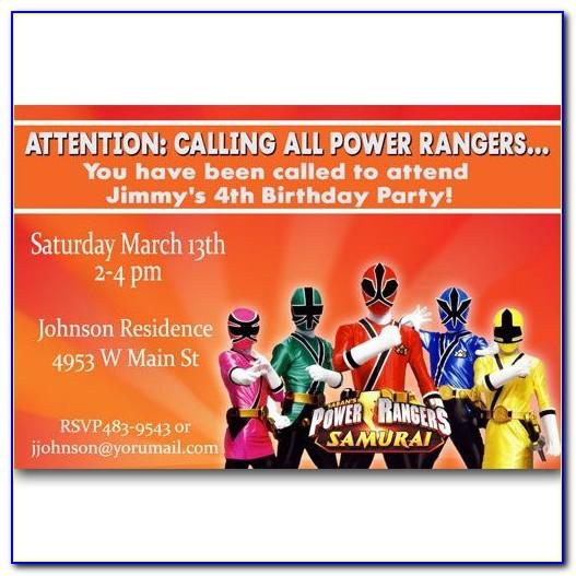 Power Rangers Birthday Invitations Template Free