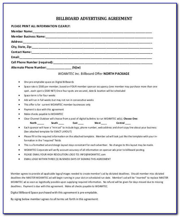 Print Advertising Contract Template