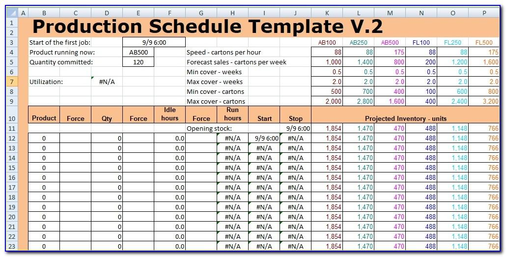 Production Planning Template Excel