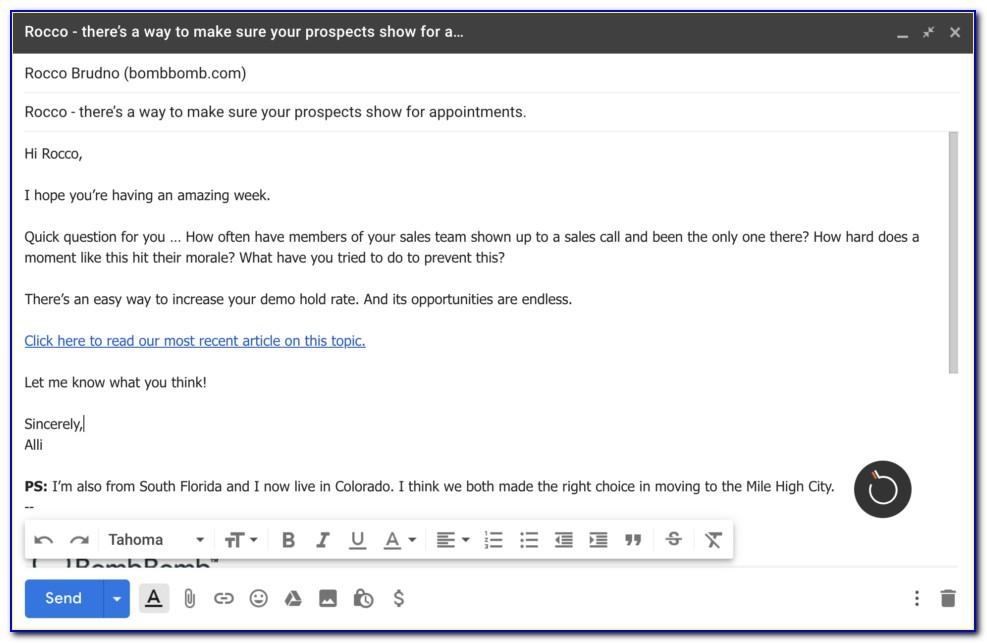 Prospecting Email Template Example