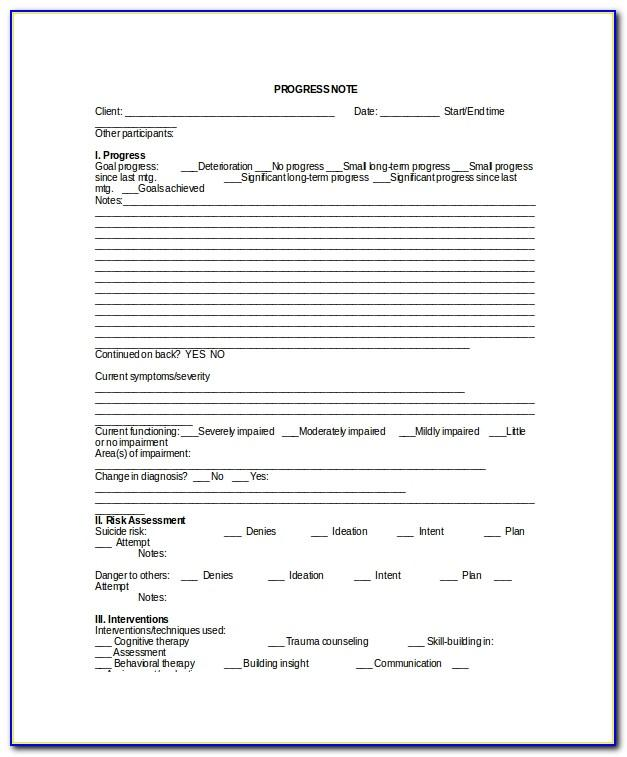 Psychotherapy Notes Template Free