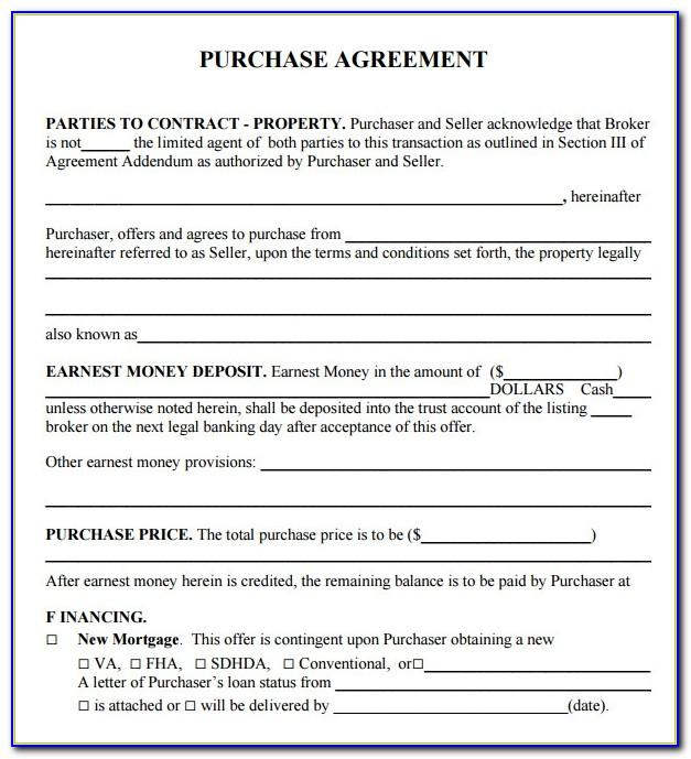 Purchase Agreement Template Word Free