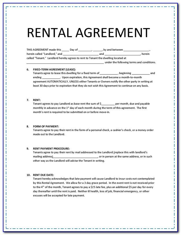 Rental Agreements Printable